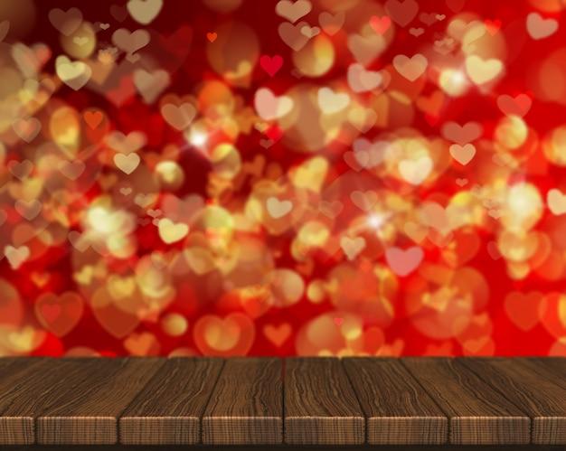 3d geef van een valentines day achtergrond met houten tafel op zoek naar hartvormige bokeh lichten