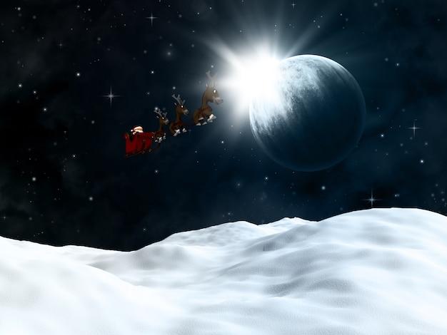 3d geef van een winterlandschap met santa vliegen al een nachtelijke hemel