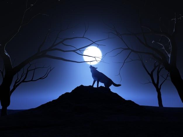 3d geef van een wolf terug die bij de maan huilt