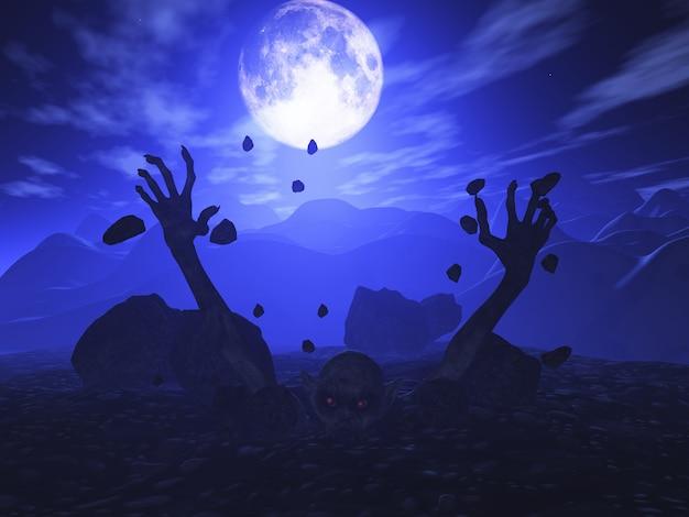 3d geef van een zombie terug die van grond losbarst