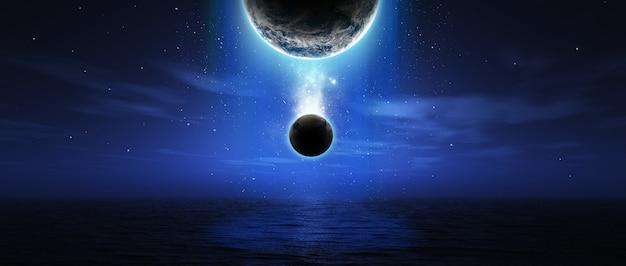 3d geef van fictieve ruimte scène over de oceaan in breedbeeld