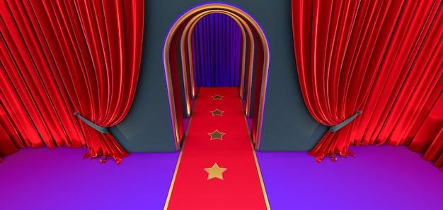 3d geef van gangboog, zwarte gang, lange tunnel met bogen en rood tapijt met rood gordijn terug