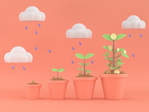 3d geef van geldboom het groeien terug