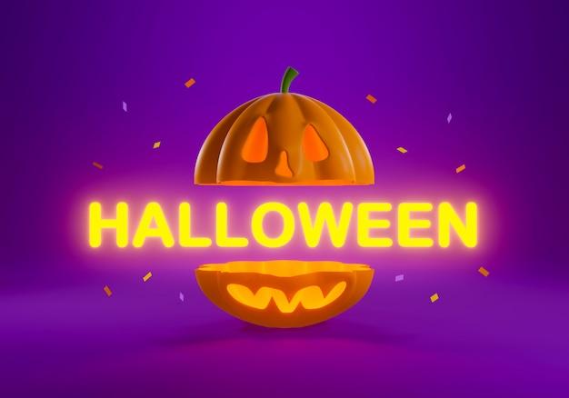 3d geef van gelukkige halloween-pompoen terug die met tekst wordt gesneden