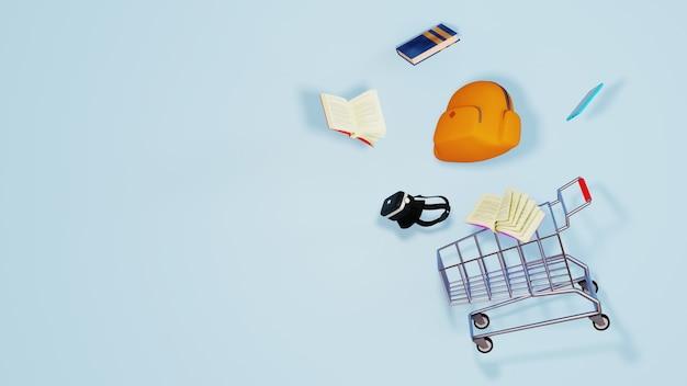 3d geef van goederen en karretje terug. zakelijk online mobiel en e-commerce.