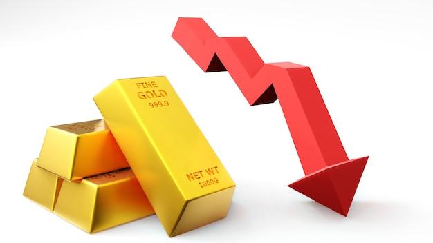 3d geef van gouden baksteen gouden staaf met grafiek terug financieel concept