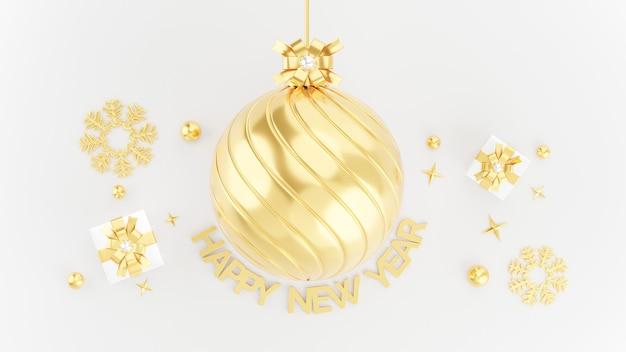 3d geef van gouden gelukkige nieuwe jaarachtergrond met decoratie terug
