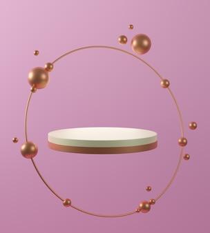 3d geef van gouden witte marmeren voetstukstappen terug die op roze achtergrond, gouden ring, abstract minimaal concept worden geïsoleerd, eenvoudig schoon ontwerp, luxe minimalistisch model.