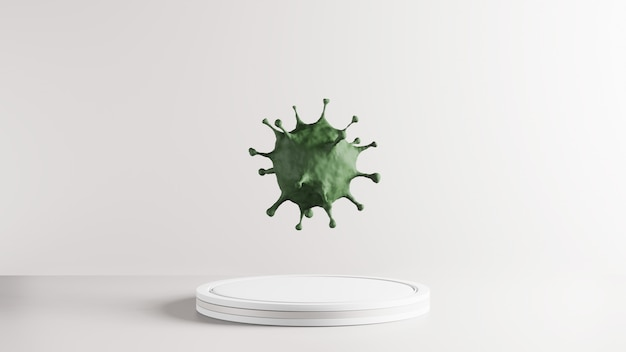 3d geef van groen covid-19 terug. conceptueel van pandemisch epidemisch virus voor onderzoek naar medische gezondheidsvaccins. microscopische vergroting van het groene corona-virus, 2019-ncov