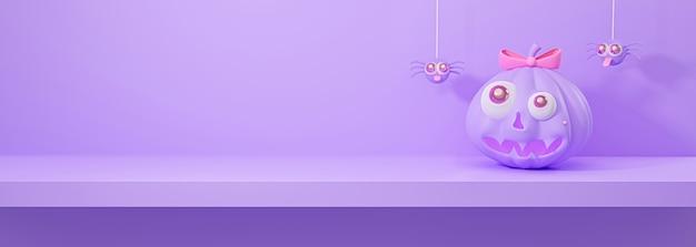 3d geef van halloween-pompoen met hangende spinnen op plank terug