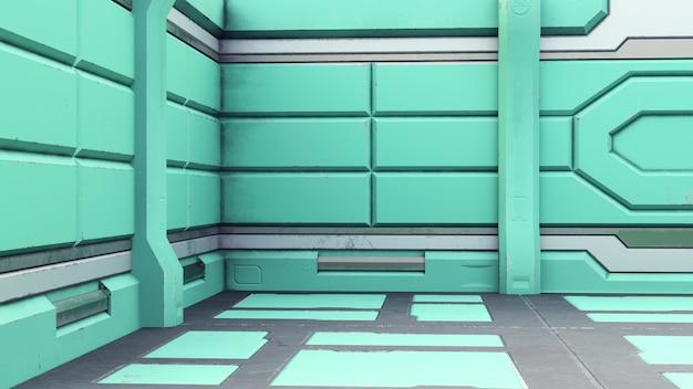 3d geef van het futuristische binnenland van het ontwerpruimteschip terug. geven