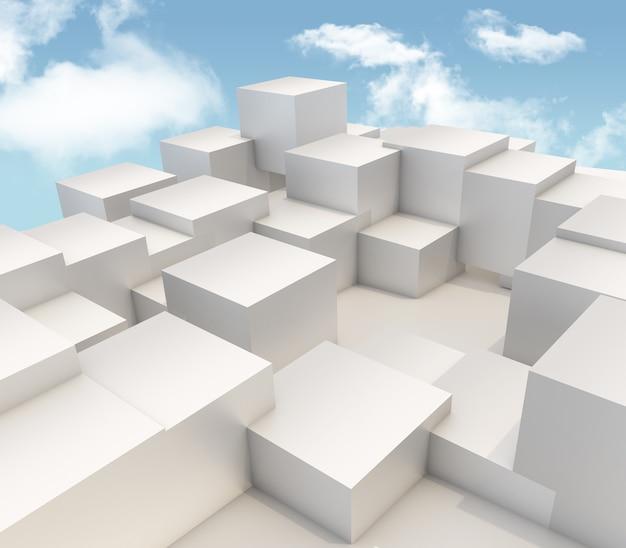 3d geef van het uitdrijven van kubussen op blauwe hemelachtergrond terug