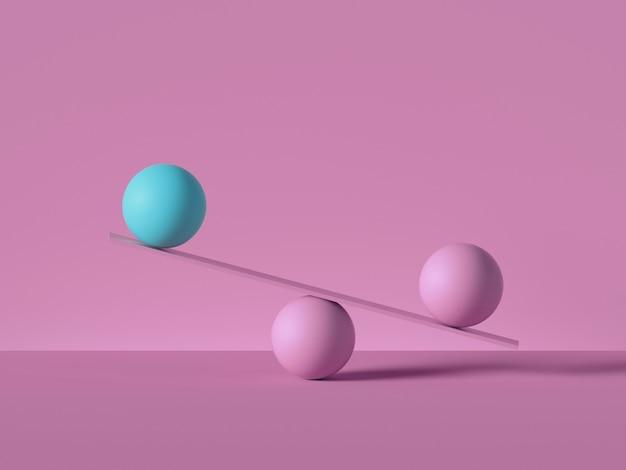 3d geef van in evenwicht brengende ballen terug die op geïsoleerde schalen of weger worden geplaatst