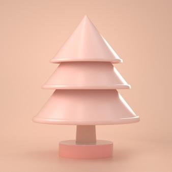 3d geef van kerstmis terug kijk minimaal stuk speelgoed van kerstmisboom op roze pastelkleur