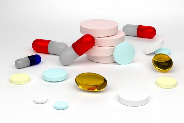 3d geef van kleurrijke pillen terug