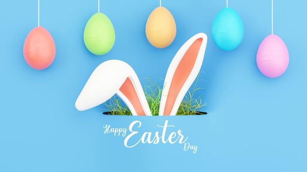 3d geef van konijntjesoor met eieren voor gelukkig pasen-festival terug