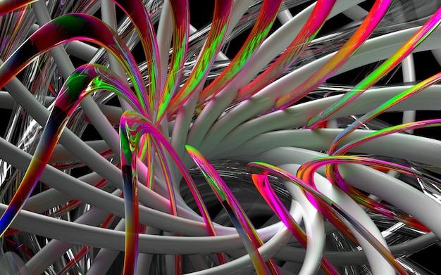 3d geef van kunst terug 3d achtergrond met een deel van abstracte turbinemotor of caleidoscopische bloem met scherpe bladen in kromme golvende biovormen in wit glanzend keramisch, glas en rood veelkleurig metaalmateriaal