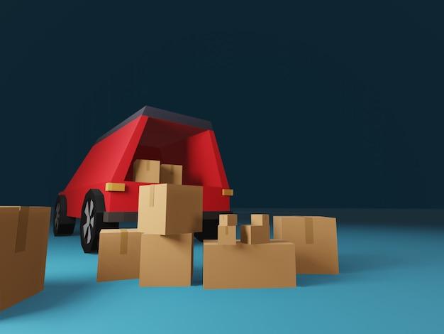 3d geef van leveringsconcept terug met vrachtwagen en pakketdozen