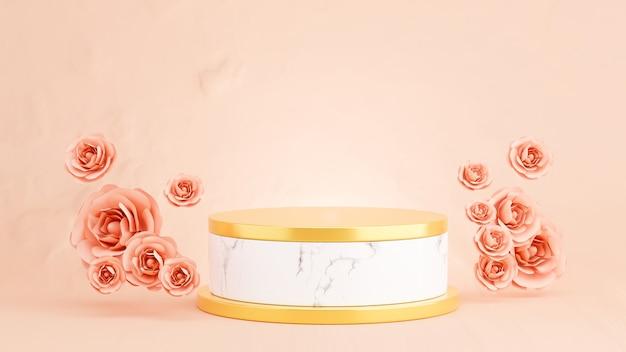 3d geef van marmeren podium met roze roos voor productvertoning terug