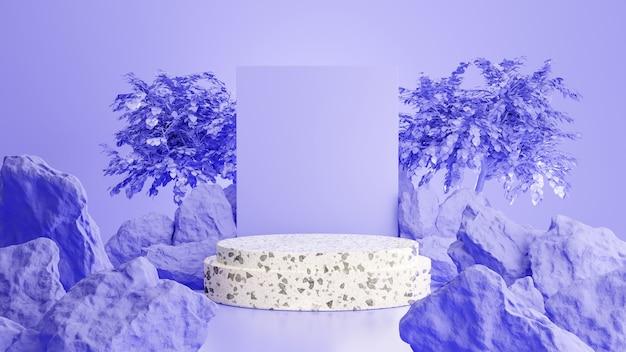 3d geef van marmeren podium met steen voor productvertoning terug