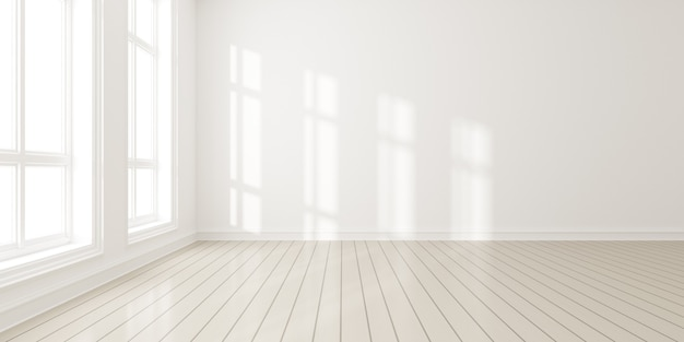 3d geef van moderne lege ruimte met houten vloer en grote witte duidelijke muur terug.