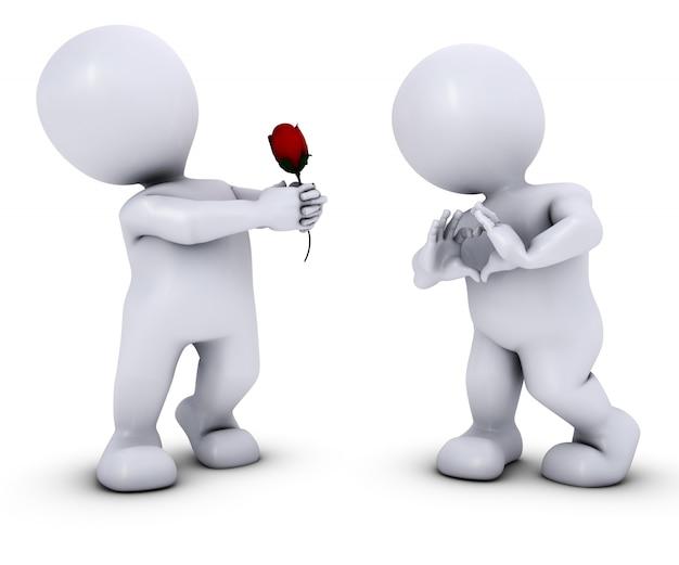 3d geef van morph man met rose