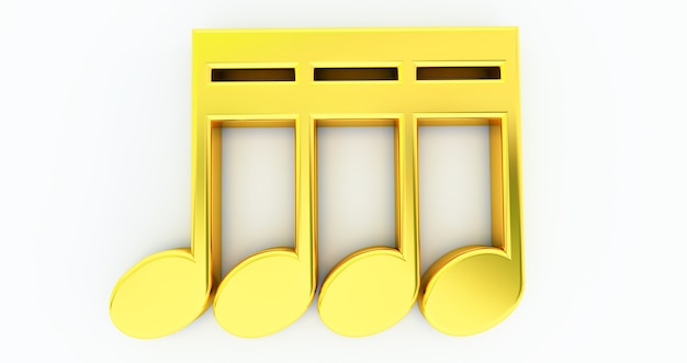 3d geef van muzieknota's terug die op witte achtergrond, het gouden symbool van de muzieknoot worden geïsoleerd
