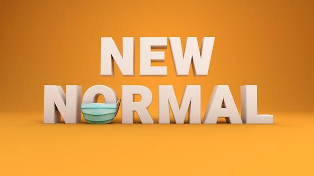 3d geef van nieuwe normale woorden op een gele achtergrond terug. de letter o draagt een gezichtsmasker