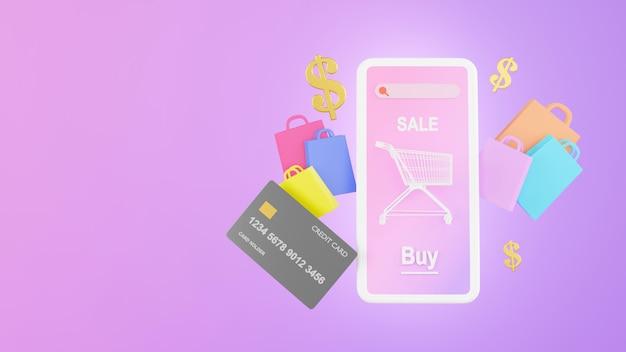 3d geef van online het winkelen opslag op mobiel toepassingsconcept terug