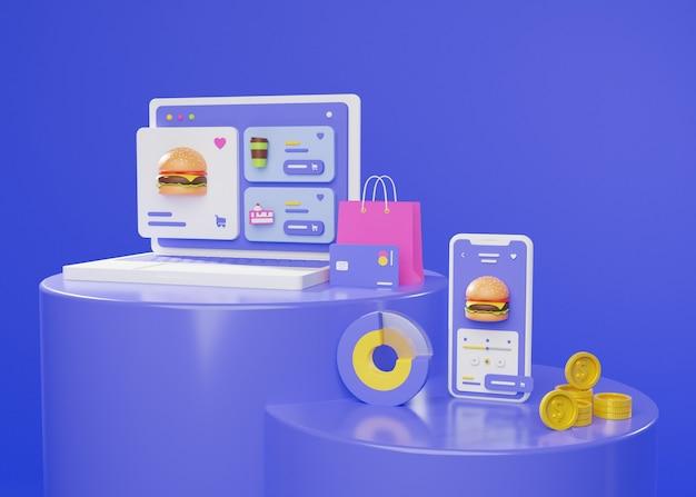 3d geef van online winkelen met laptop en telefoon terug