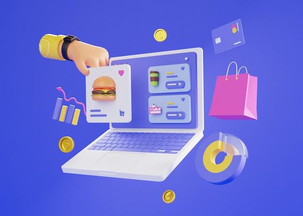 3d geef van online winkelen met laptop terug