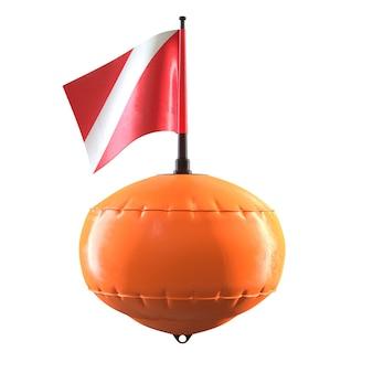 3d geef van oranje duikduikboei met vlag terug die op witte achtergrond wordt geïsoleerd.
