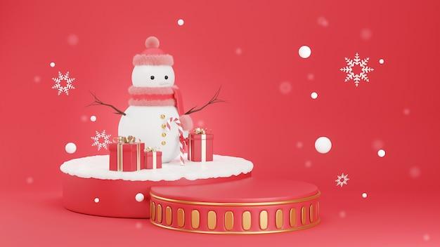 3d geef van podiumcilinder terug die met sneeuwman wordt verfraaid