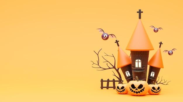 3d geef van pompoen op halloween-dag met kasteel terug
