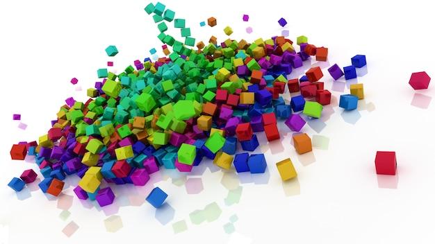 3d geef van regenboog gekleurde kubussen terug