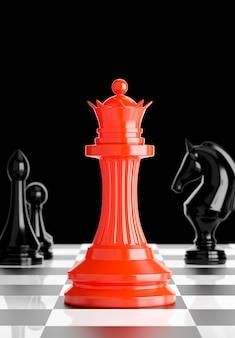 3d geef van rood koninginschaak aan boord met bedrijfssuccesconcept terug