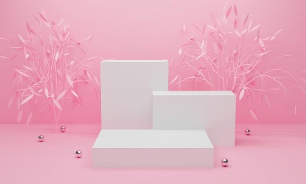 3d geef van roze abstracte achtergrond met vertoningspodium en boom terug.