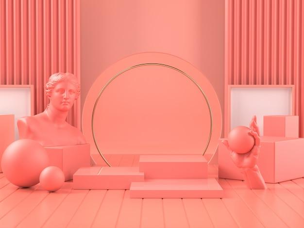 3d geef van roze podium op klassiek roman beeldhouwwerk terug
