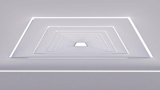 3d geef van samenvatting in een grote zaal, zeshoekige vorm terug