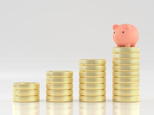 3d geef van spaarvarken op de stapel van het geldmuntstuk terug
