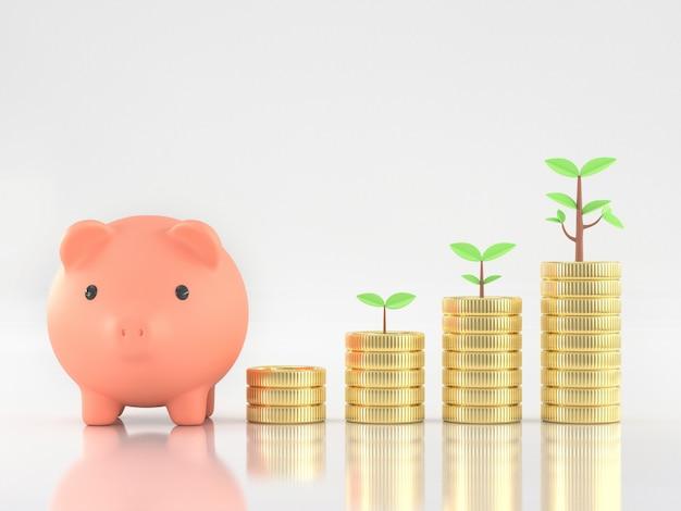3d geef van spaarvarken terug met muntstukken