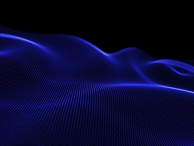3d geef van stromende deeltjes terug die tot een abstract landschap, moderne technologie leiden