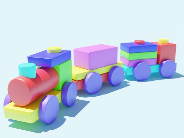 3d geef van stuk speelgoed geïsoleerde trein terug
