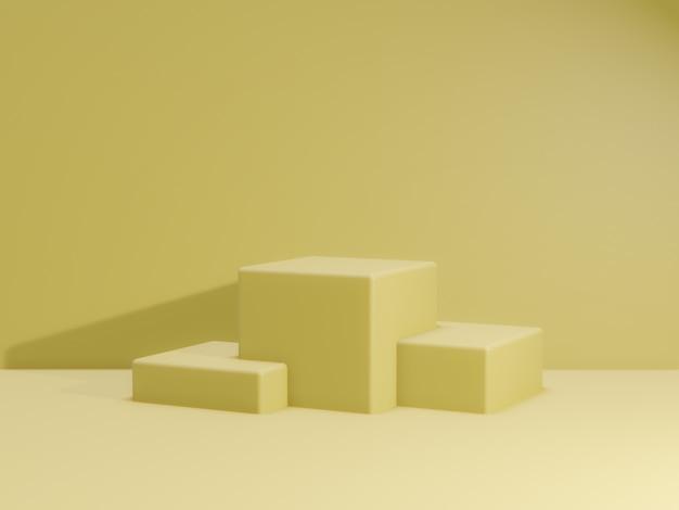 3d geef van totaal geel podium voor product terug. mockup fase.