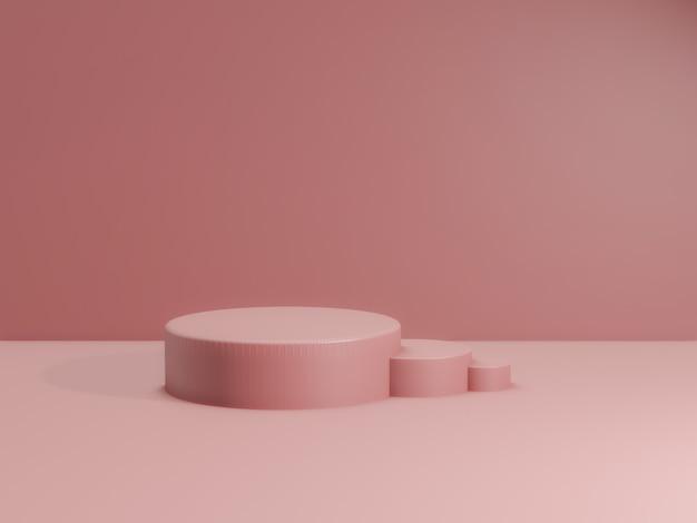 3d geef van totaal poeder roze podium voor product terug. mockup fase.
