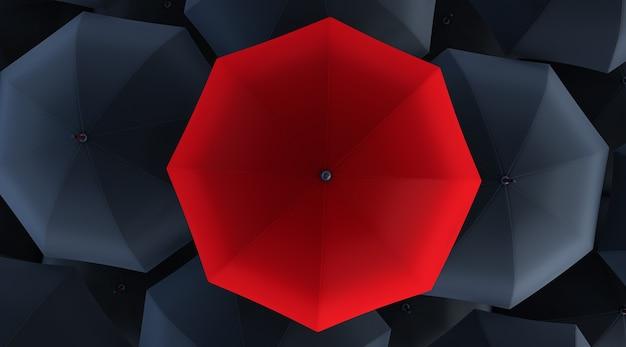 3d geef van unieke rode paraplu onder vele donkere terug.