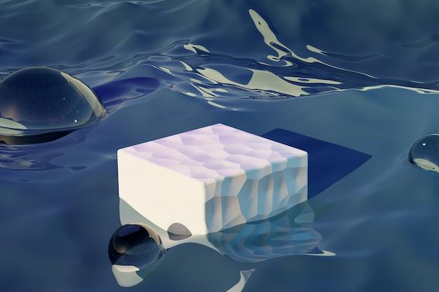 3d geef van water en podium voor product terug