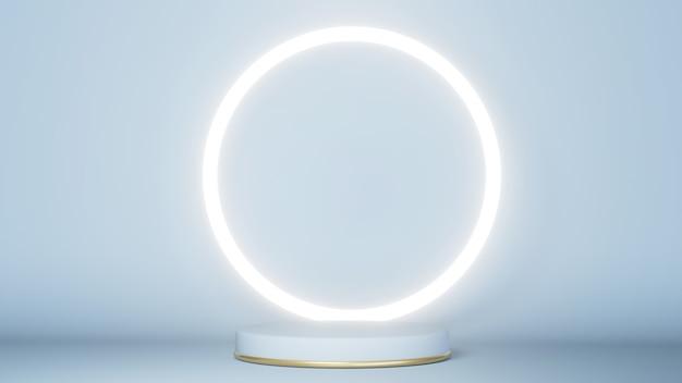 3d geef van wit en gouden podium met glanzende cirkel terug