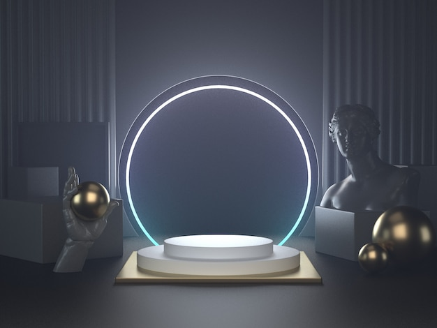 3d geef van wit podium op het klassieke beeldhouwwerk van futuristische lichtennd terug