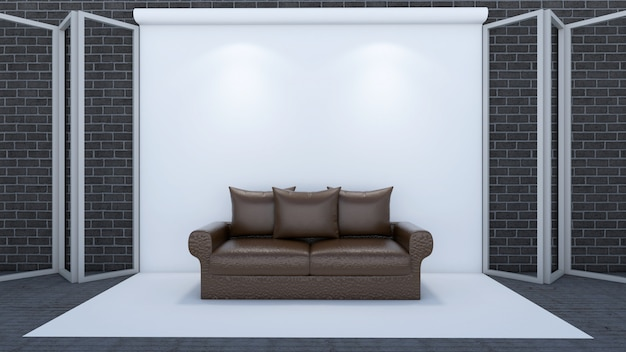 3d geef van woonkamer en model terug in studio